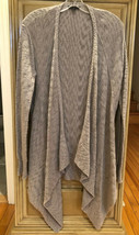 Eileen Fisher Cotton Open Front Gray Knit LS Waterfall Cardigan Sweater Sz S EUC - $45.05