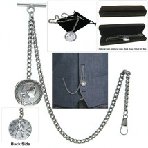 Albert Chain Silver Pocket Watch Curb Link Chain Old Coin Design Fob T B... - $16.99+