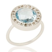 Blue Topaz White Topaz 925 Sterling Silver Ring Gemstone Jewelry - $46.00