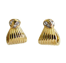 Nina Ricci Gold Tone & Rhinestone Earrings - $24.00