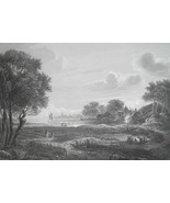 LANDSCAPE Lit by Moon after Painter Van der Neer - 1854 Antique Print - $19.80