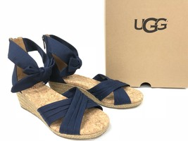 Ugg Australia Traci Espadrille Bow Wedge Shoes Peep Toe 1092441 Navy Blue Shoes - $69.99