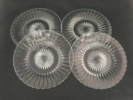 """Vintage Heisey Ridge and Star Lot of 4 Salad Plates 7.5"""" Clear Glass - $23.50"""