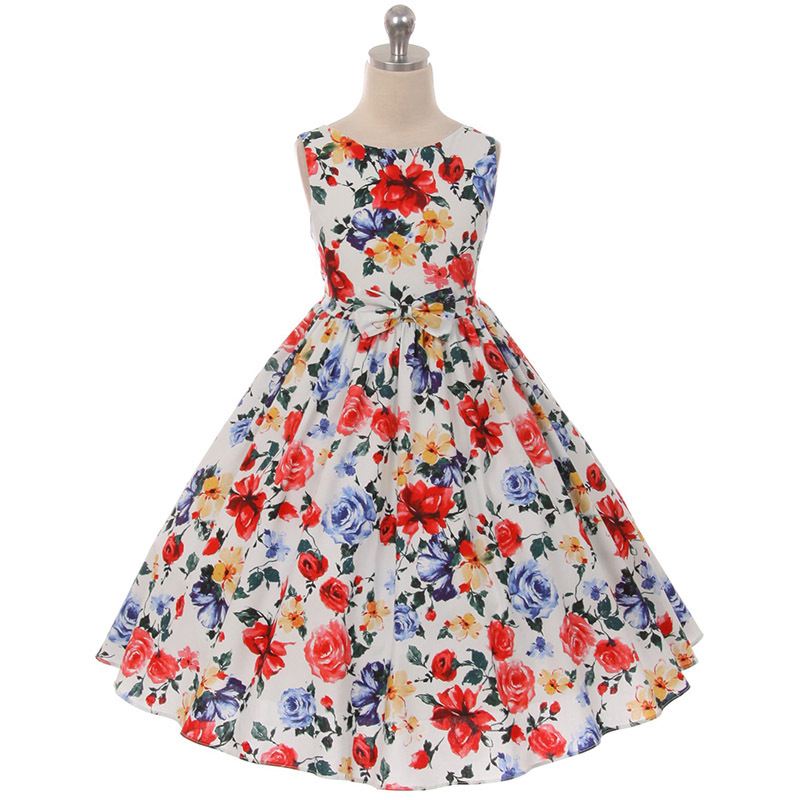 Beautiful Sleeveless Spring Bloom Red Blue Yellow Flowers Cotton Girl Dress