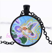Hummingbird With Flower Cabochon Necklace >We Combine Shipping< (2556) - $3.71