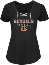 NFL Women's Cincinnati Bengals Short Sleeve V-Neck Synthetic Lace Up Tee - Small - $11.95
