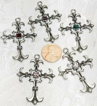 LARGE CROSS WITH CRYSTAL FINE PEWTER PENDANT - 34mm L x 47mm W x 3.5mm D image 2