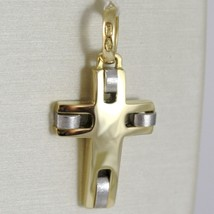 Cross Pendant Gold Yellow White 750 18k, Square, Satin, Made in Italy image 1