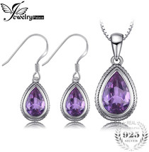 JewelryPalace Vintage 25ct Pear Created Alexandrite Sapphire Dangle Earrings Pen - $24.38