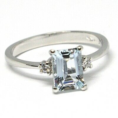 18K WHITE GOLD BAND RING AQUAMARINE 0.80 EMERALD CUT & DIAMONDS, MADE IN ITALY