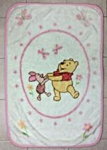 Disney Winnie The Pooh Baby Blanket Piglet Pink Flowers Butterflies Thick Furry - $62.88