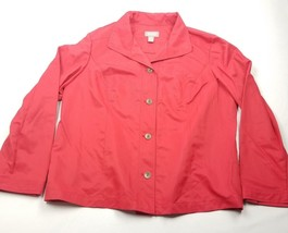 Chicos Womens Blazer Size 3 Casual Red Button Up - $12.35