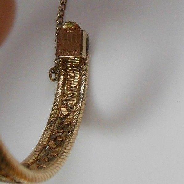 Vintage Signed B B 12K Gold Filled Hinged Bangle Bracelet