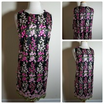 Tahari Women's Dress NWT Black Pink Shift Floral Embroidered Sleeveless 14 - $120.89