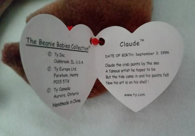 TY Beanie Babies Claude Crab Eye Sewn Wronge PVC PELLETS RARE ERRORS Retired image 3