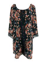 Socialite Women's Black Floral Print Scoop Neck Lace Trim Shift Dress Si... - $13.86