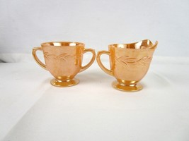 Vintage  Fire King Laural Peach Luster  Cream & Sugar Set - $12.83