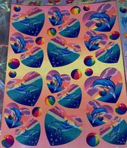 VINTAGE Crispy & Complete Perfect Lisa Frank Sticker Sheet DOLPHINS & HEARTS