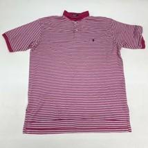 Polo Ralph Lauren Polo Shirt Men's Large Short Sleeve Pink Blue Striped ... - $18.95