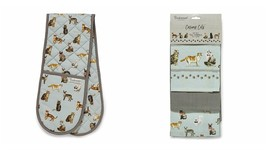 BLUE GREY CURIOUS CATS DESIGN 100% COTTON DOUBLE OVEN GLOVE AND 3 TEA TO... - $21.66