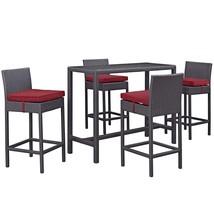 Convene 5 Piece Outdoor Patio Pub Set Espresso Red EEI-1964-EXP-RED-SET - $941.00