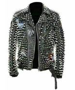 Handmade Men's Black Silver Spiked Studded Embroidered Leather Jacket - $322.99