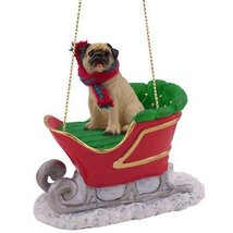 Fawn Chinese Pug Dog in Sleigh Christmas Ornament New - $17.99