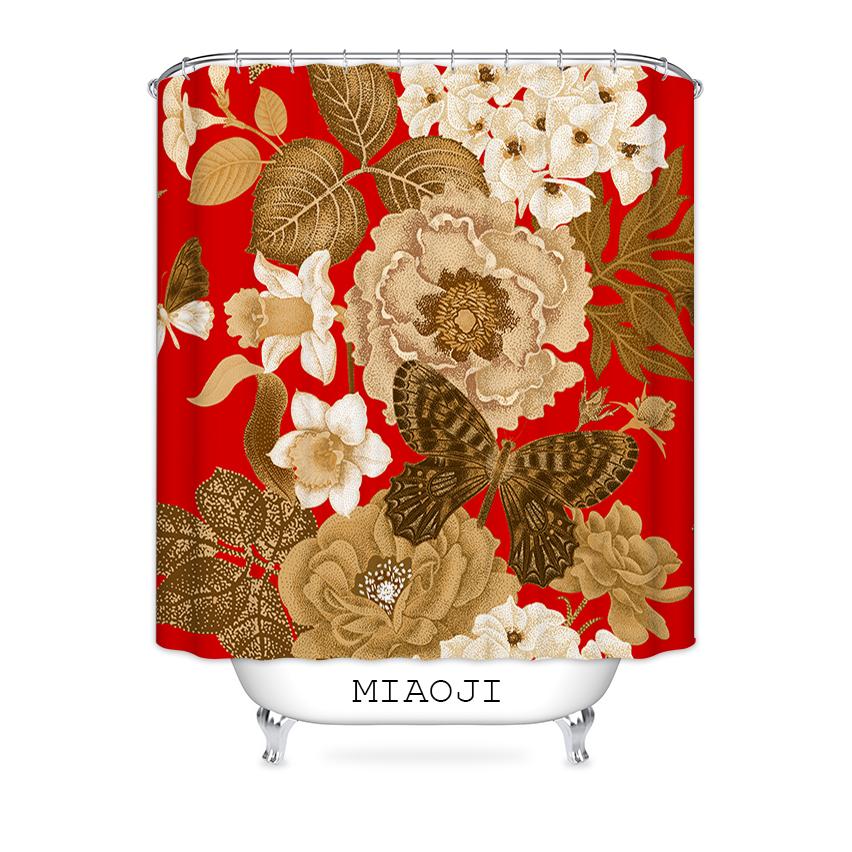 [MIAOJI] Royal Luxury Classic China Red Flowers Shower Curtain Waterproof Fabric