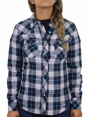 NEW LEVI'S WOMEN'S CLASSIC RELAXED WESTERN PLAID SHIRT BLUE 326390098 SIZE L