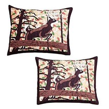 Tan Brown Whitetail Deer Pillow Set Cabin Themed Pair Lodge Southwest Na... - $72.99