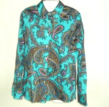 2ddfc6cabd507d Talbots Petites Teal Blue Multi Color Paisley Long Sleeve Button Blouse  Womens S - $14.80