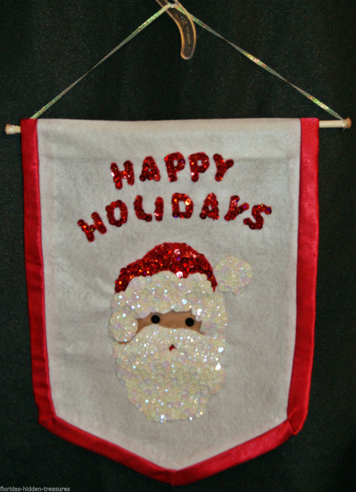 "Santa Claus Sequined Happy Holidays Wall Hanging Tapestry 14"" x 18"" Hand Crafted"