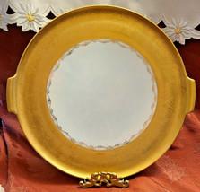 Vintage Large Gold & Grapes Cake Serving Platter Alka Kunst Bavaria Signed1964
