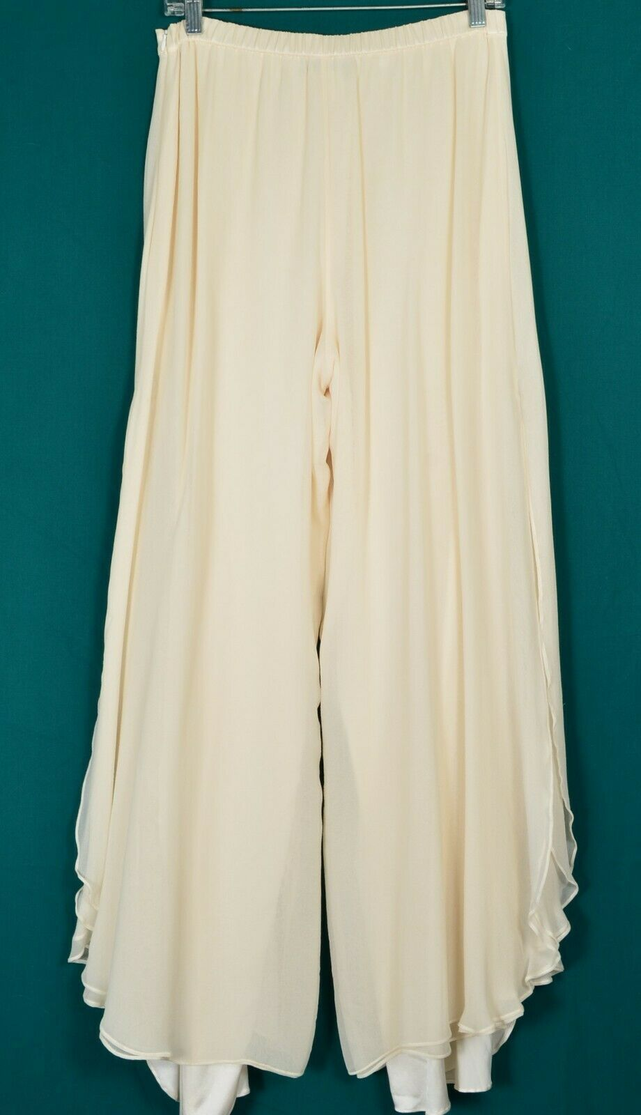 St John pants Evening SZ 8 off-white cream 2-layer silk long slits on leg USA image 9