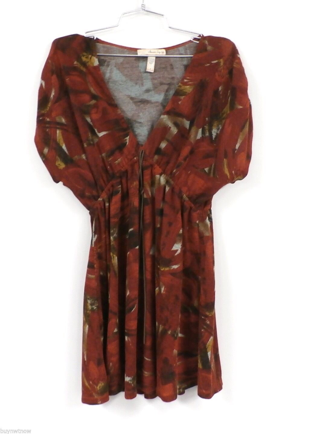 American Rag Cie Stretch Tunic Mini Dress Rust Abstract Print L Poly Spandex image 1
