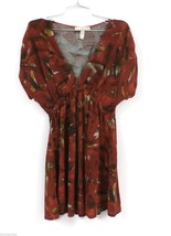 American Rag Cie Stretch Tunic Mini Dress Rust Abstract Print L Poly Spa... - $36.68