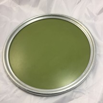 Vintage plated round serving tray wood grain formica in the center green... - $277,06 MXN