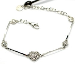 REBECCA BRONZE BRACELET, CUBIC ZIRCONIA HEART AND DISCS, B14BBB05 MADE IN ITALY image 1
