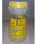 Vintage Carafe Lemon Juice Glass Jar Lemonade Bottle Quart 32 oz. Yellow... - $14.01