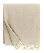 Sferra Celine Throw Blanket Mushroom Cotton Herringbone Twisted Fringe 5... - $76.90
