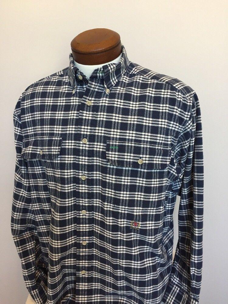 b01c5737 S l1600. S l1600. Previous. Tommy Hilfiger Mens Shirt M Button Front Down  Crest Logo Flag Tag Blue Plaid Q24
