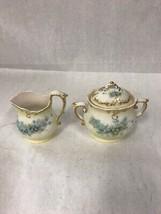 Vintage Creamer and sugar bowl lid Gold rims Porcelain glass Hollywood R... - $26.31