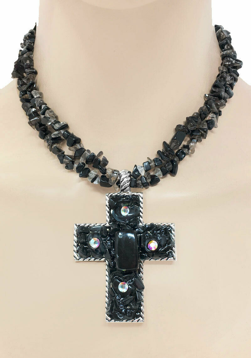 Primary image for Black Glass Beads AB  Rhinestone Cross Pendant Necklace Earrings Goth, Punk