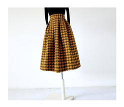 Winter Yellow Houndstooth Skirt Women Houndstooth Midi Pleated Skirt Wool Plus image 3