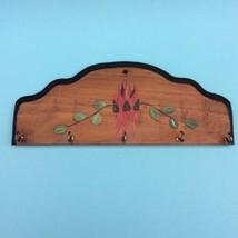 RETRO WOODEN WALL KEY HANGER x5 Hooks Painted S... - $14.91