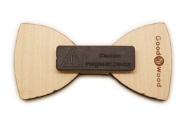 New Good Wood NYC new York Natural Wooden Leopard Magnetic Bow Tie image 3