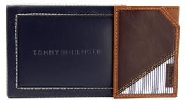 NEW TOMMY HILFIGER MEN'S PREMIUM LEATHER SLIM CARD CASE WALLET BROWN 4268-02 image 2