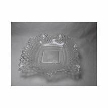 "Eapg PRESSED GLASS BOWL Dish wavy ruffled edge Geometric Basket 6.75"" - $18.73"