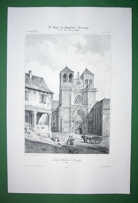 FRANCE Souvigny Priory Church of Saint Peter - SUPERB Litho Antique Print