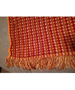 Vintage 1970s MCM Handmade Afghan Throw Blanket 3D Fringe 58 x 32 - $23.72